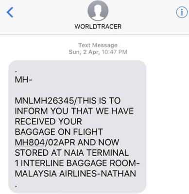 SMS konfirmasi dari pihak bandara - Wira Asmo