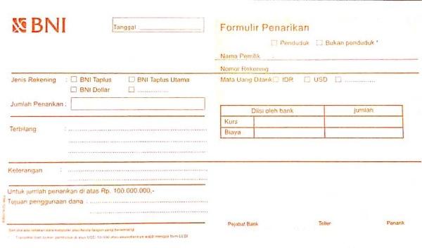Bagian depan formulir penarikan rekening - Wira Asmo