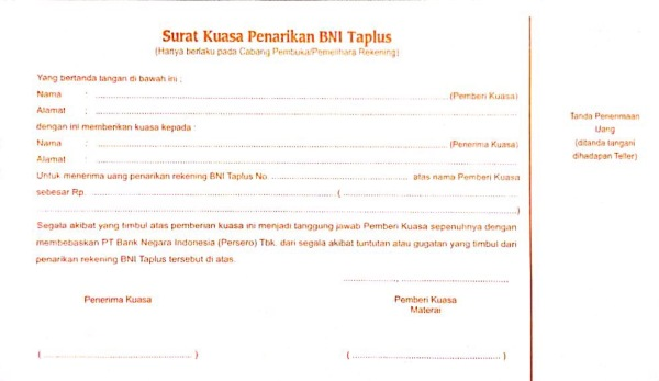 Bagian belakang formulir penarikan rekening BNI - Wira Asmo