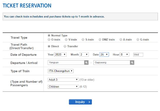 Halaman pembelian tiket - Cara Membeli Tiket ITX Train ke Nami Island