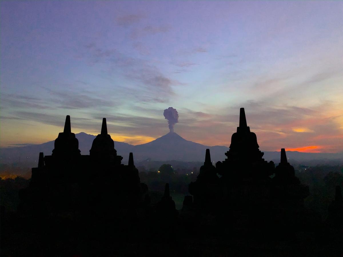 Mount Merapi spewing ash - Yogyakarta Temple Run