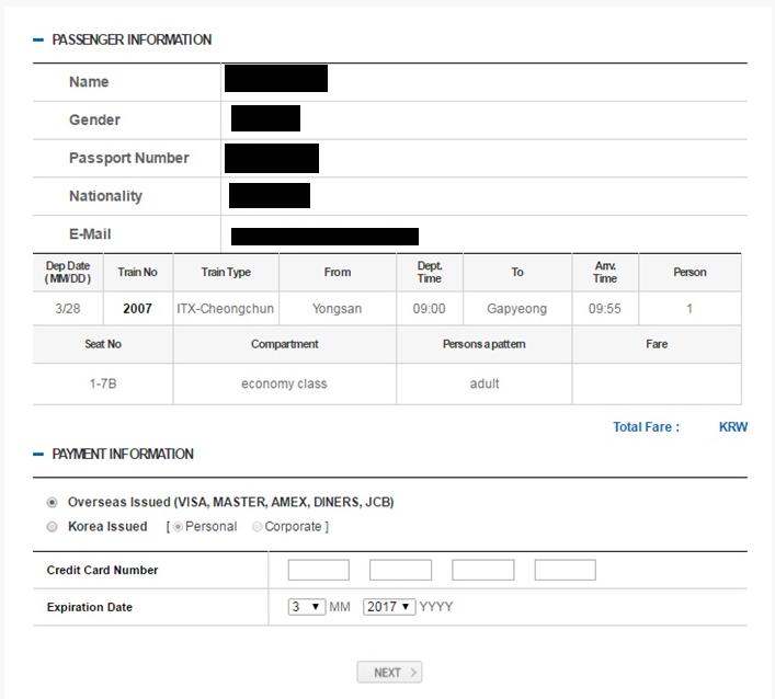 Halaman Konfirmasi dan Pembayaran - Cara Membeli Tiket ITX Train ke Nami Island