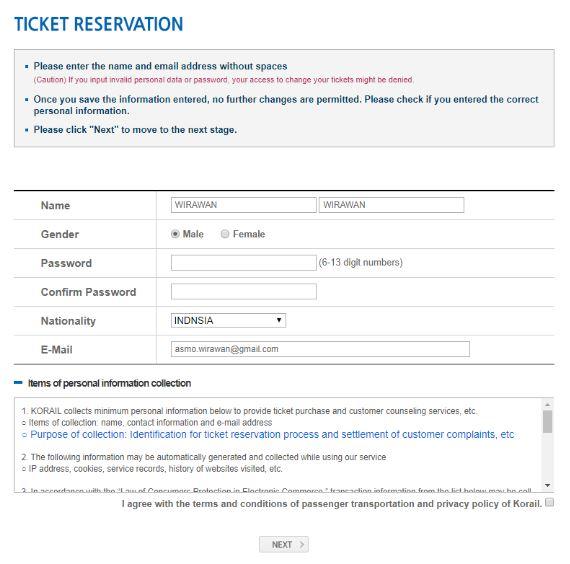 Mengisi Data Diri - Cara Membeli Tiket ITX Train ke Nami Island