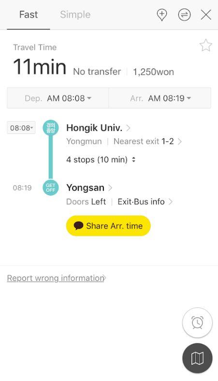 Menuju Stasiun Yongsan dibantu aplikasi Kakao Metro - Cara Membeli Tiket ITX Train ke Nami Island