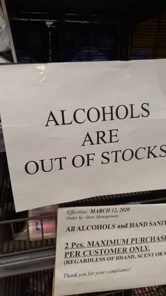 Alcohols are out of stocks