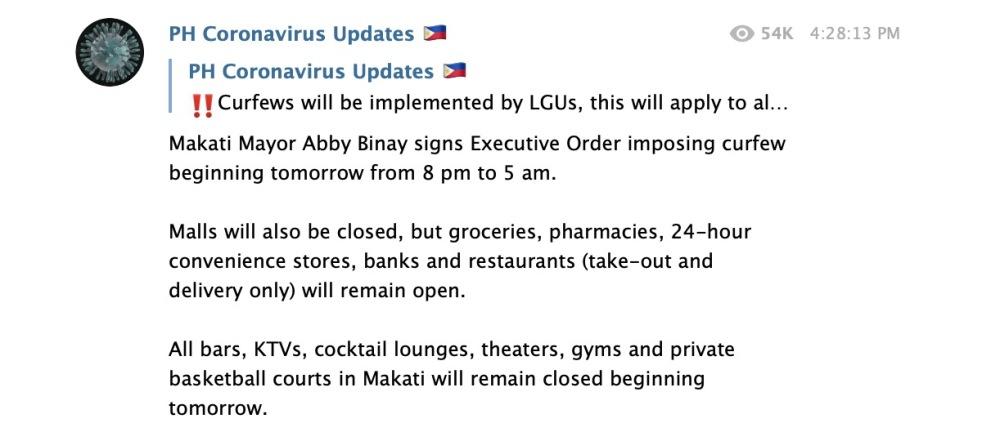 Pemberlakuan Curfew -- Jam Malam -- di Makati City