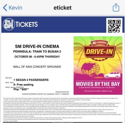 SM Drive-in Cinema Ticket